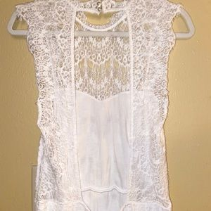 Free People Dresses - NWOT- Free People Lace Backless White Dress